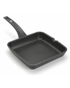 Grill cocina plancha liso con mango 28x28cm aluminio fundido eficent bra a271328