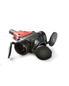 Adaptador electricidad tt 16a-250v negro famatel triple 187g