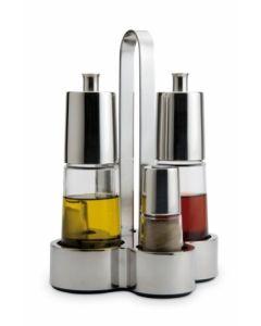 Vinagrera cocina aceitera convoy cristal/acero inoxidable bella bra 4 pz a021205