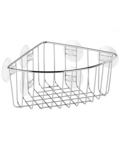 Cestillo baño ventosa 19x19x10cm metal cromo tatay 6590600