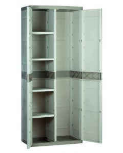Armario ordenacion 4 baldas escobero 2 puertas 70x44x176cm tes beige 9204