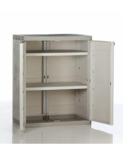 Armario ordenacion 2 baldas bajo 2 puertas 70x44x88cm tes beige 9205