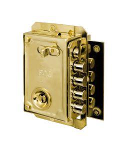 Cerradura seguridad sobreponer picaporte y 4 pasadores 144x90mm derecha bombillo 50mm llave serreta dorado fac 11005