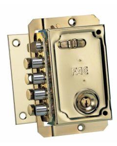 Cerradura seguridad sobreponer picaporte y 4 pasadores 144x90mm izquierda bombillo 50mm llave serreta dorado fac 11006