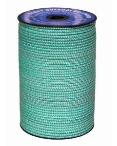 Cuerda fijacion trenzada 05mm 200 mt poliester blanco/verde hyc 5540050200