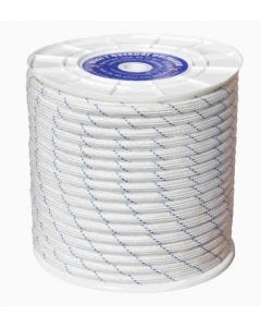 Cuerda fijacion trenzada doble 16mm 100 mt polipropileno blanco/azul hyc 4102160100