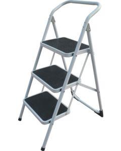 Escalera domestica barandilla baja 3 peldaños 38x26cm 0,73mt acero blanco cody