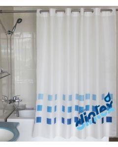 Cortina baño anilla facil 180x200cm textil azul llas dintex 2 pz 02-953