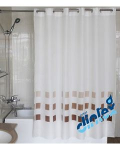 Cortina baño anilla facil 180x200cm textil beige llas dintex 2 pz 02-955