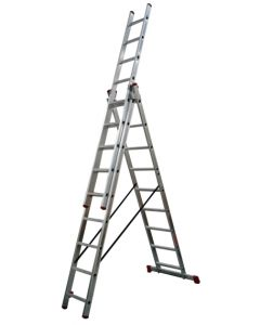 Escalera industrial triple con base 9 peldaños 6,24mt aluminio teicocil