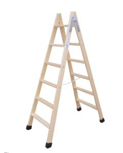 Escalera industrial doble 8 peldaños 2,00mt madera escaleras climent
