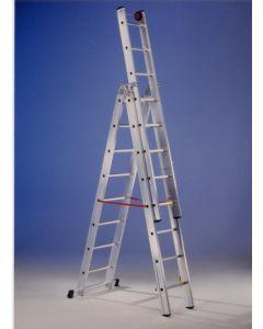 Escalera industrial triple con base 7 peldaños 2,10/4,90mt aluminio svelt