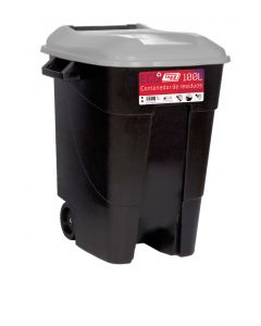 Contenedor basura con ruedas tapa 100 lt plastico negro tapa gris tayg 420009