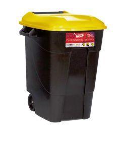 Contenedor basura con ruedas tapa 100 lt plastico negro tapa amarilla tayg 420016