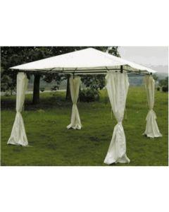 Cenador jardin con cortinas 3x3 mt natuur beige nt95610