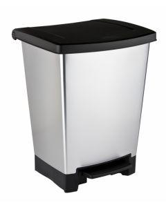 Cubo basura reciclaje con pedal 2 compartimentos 25lt plastico gris plata curver