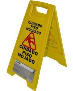 Cartel señalizacion peligro suelo mojado 62cm amarillo mader