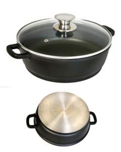 Cacerola cocina baja con tapa 30cm aluminio fundido ecostone cookware