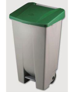 Contenedor basura con ruedas y pedal tapa 120 lt plastico verde denox 23400