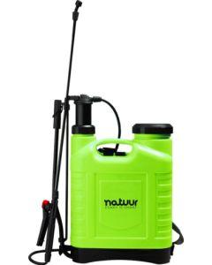 Pulverizador jardin presion retenida lanza fibra vidrio boquilla regulable 16lt verde natuur nt99253