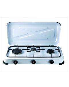 Cocina portatil a gas 3 fuegos 580x330x90mm 1,4/1,2/0,85 kw vivahogar vh99261